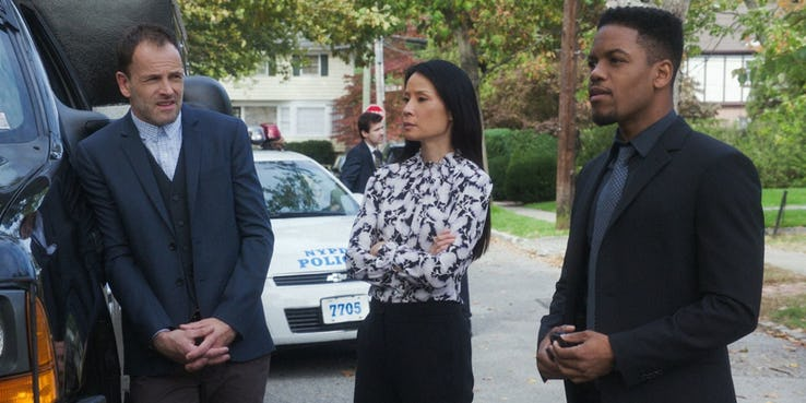 Jonny Lee Miller Lucy Liu and Jon Michael Hill in Elementary Season 6