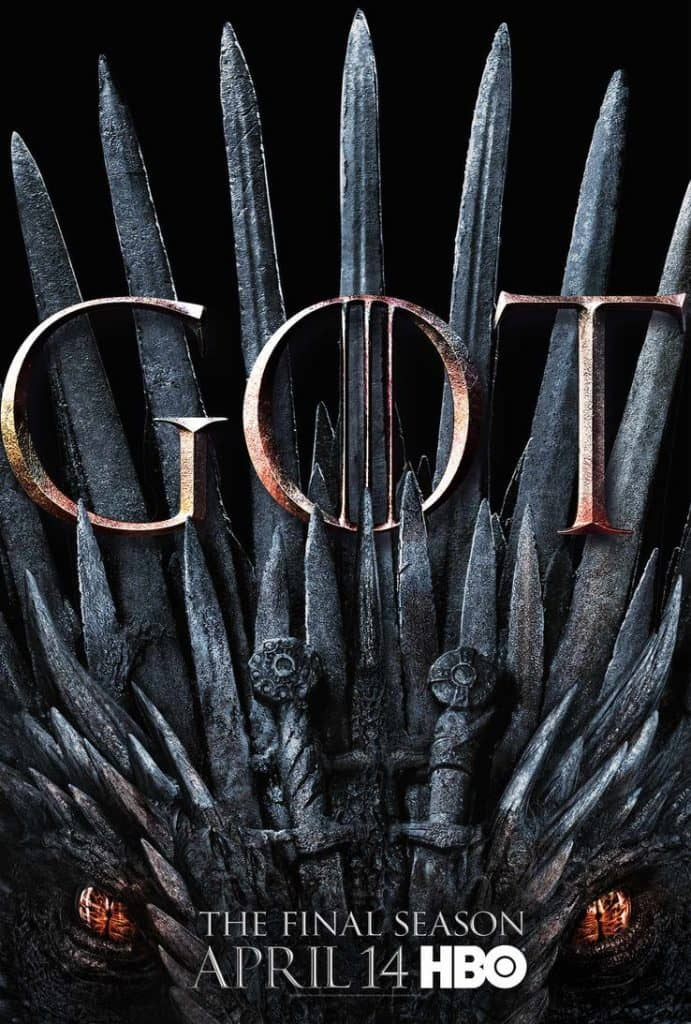 game of thrones season 8 poster iron throne drogon