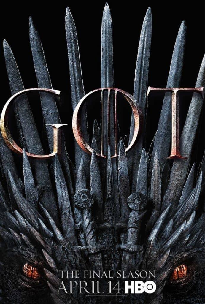 game of thrones season 8 poster iron throne drogon