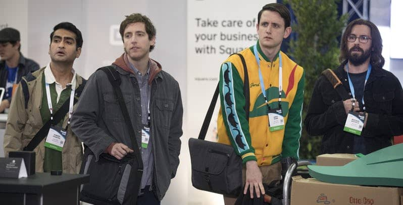 kumail nanjiani thomas middleditch zach woods and martin starr in silicon valley hbo