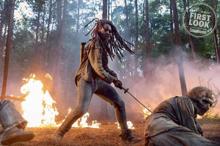 michonne battles zombies on the walking dead season 10