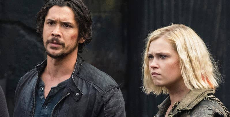 bob morley and eliza taylor in the 100 season 6 the cw